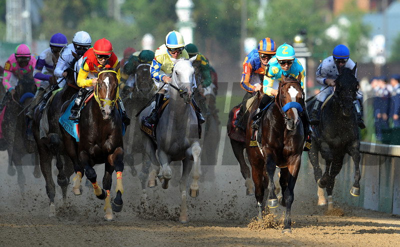 first time by in the Kentucky Derby...<br /> L-R Trinniberg, Hansen, Bodemeister<br /> © 2012 Rick Samuels/The Blood-Horse