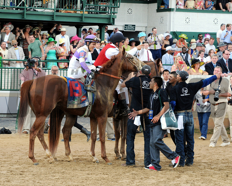 Mario Gutierrez and I'll Have Another after winning Kentucky Derby 138.<br /> Photo by Dave Harmon.