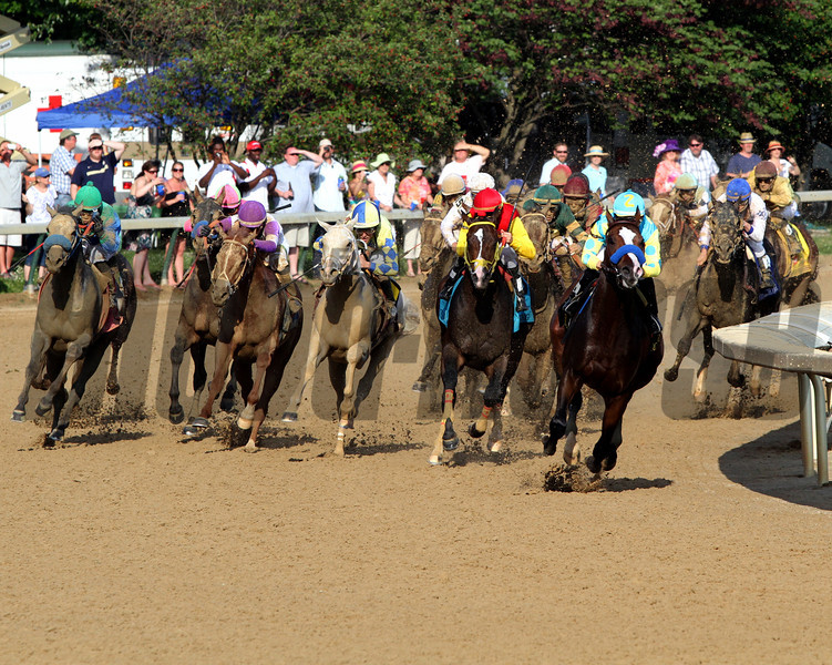 The field for the 138th Kentucky Derby comes off the final turn at Churchill Downs on May 5, 2012.<br /> Photo by Chad Harmon