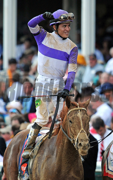 Mario Gutierrez after winning the Kentucky Derby on I'll Have Another...<br /> © 2012 Rick Samuels/The Blood-Horse
