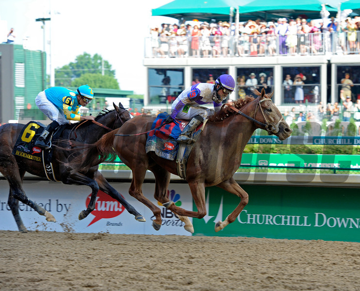 Caption:  <br /> I'll Have Another with Mario Gutierrez up wins the Kentucky Derby presented by Yum<br /> at Churchill Downs near Louisville, Ky. on May 5, 2012.<br /> DErby1  image896<br /> PHoto by Alex M. Eberhardt