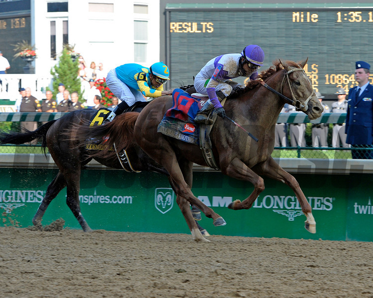 Caption:  <br /> I'll Have Another with Mario Gutierrez up wins the Kentucky Derby presented by Yum<br /> at Churchill Downs near Louisville, Ky. on May 5, 2012. Bodemeister in second<br /> DErby1  image894<br /> PHoto by Alex M. Eberhardt