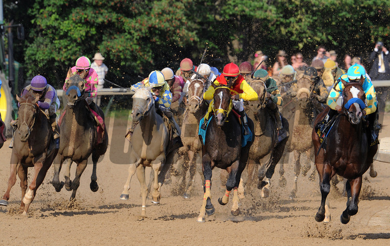Kentucky Derby winner I'll Have Another looms in the middle of the field as Bodemeister leads the pack around the final turn.<br /> Photo by Courtney V. Bearse.