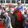 Dennis O'Neill walks the horse into the winners circle<br /> I'll Have Another with Mario Gutierrez up wins the Kentucky Derby presented by Yum<br /> at Churchill Downs near Louisville, Ky. on May 5, 2012.<br /> Photo by Anne M. Eberhardt.