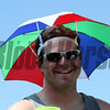An umbrella hat to block the sun in the infield at Pimlico Racecourse on May 19, 2012.