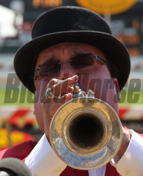 Sammy the Bugler on Preakness Day at Pimlico Race Course in Baltimore, MD May 19, 2012.  Photo by Tom Boland