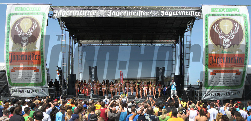 The Preakness Bikini Contest on Preakness Day at Pimlico Race Course in Baltimore, MD May 19, 2012.  Photo by Tom Boland