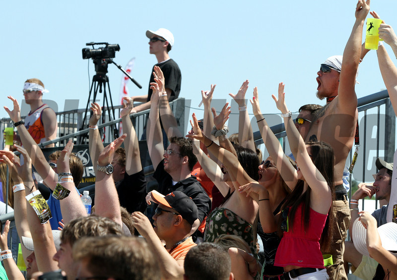 Fans love the Beach Volleyball in the infield at Pimlico Racecourse on May 19, 2012.