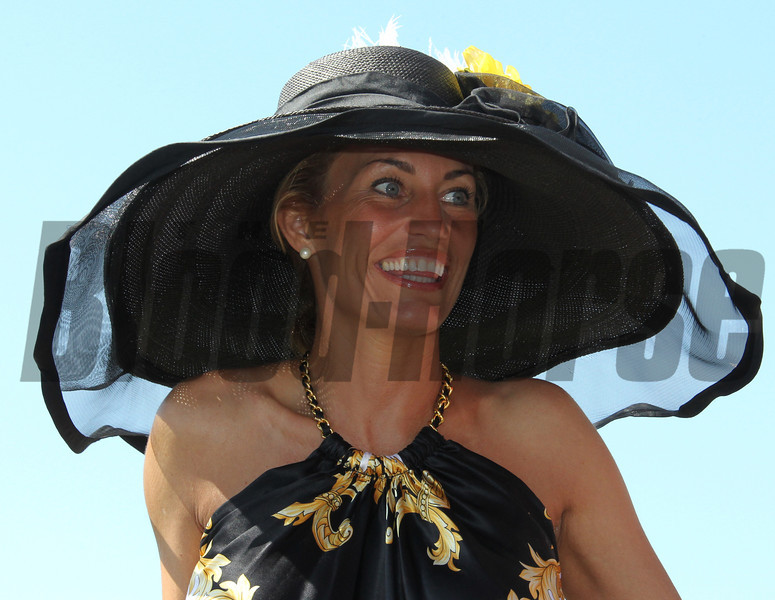 A racing patron on Preakness Day at Pimlico Race Course in Baltimore, MD May 19, 2012.  Photo by Tom Boland