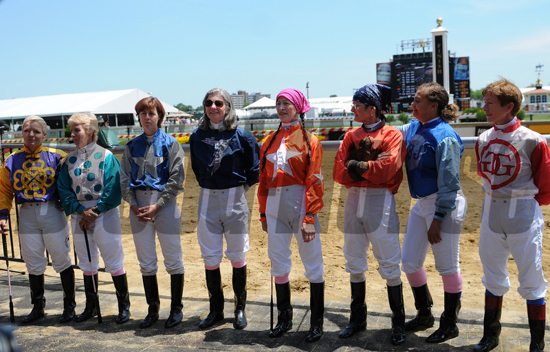 Lady Legends; from left to rigth Zoe Cadman; PJ Cooksey; Jill Jellison; Jennifer Small; Barbara Joe Rubin, Mary Tortora; Cheryl White, Mary Wiley. Pimlico Race Track, Baltimore, MD 5/18/12, Photo by Mathea Kelley