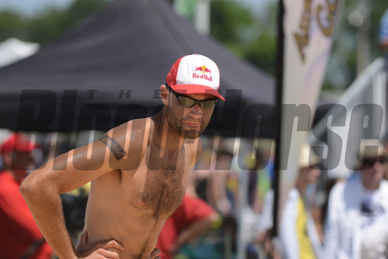 Phil Dalhausser at the NVL final tournament game in the 2012 Preakness infield