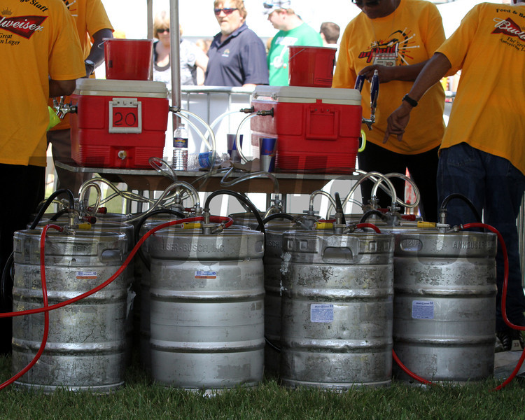The kegs are tapped in the infield at Pimlico Racecourse on May 19, 2012.