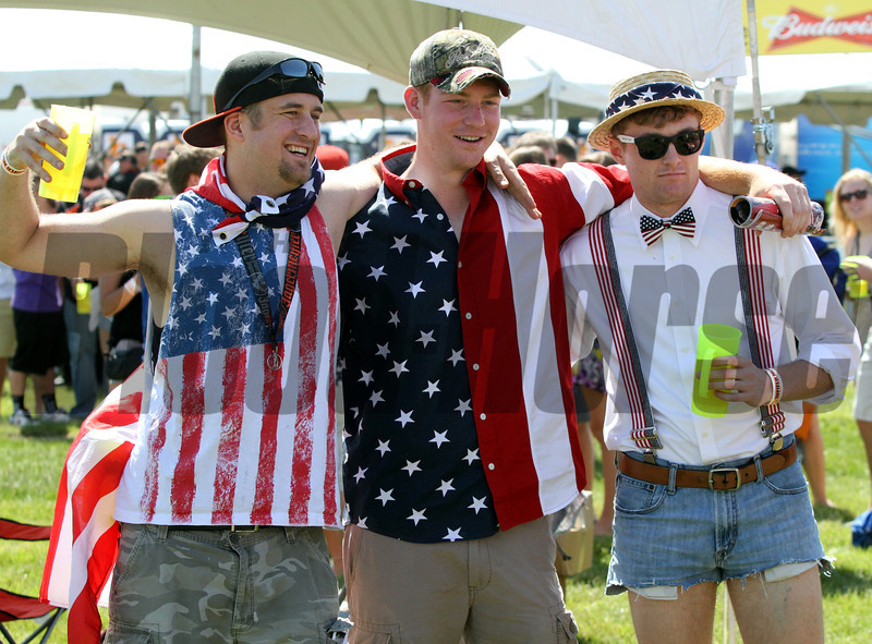 Patriotic Outfits in the infield at Pimlico Racecourse on May 19, 2012.