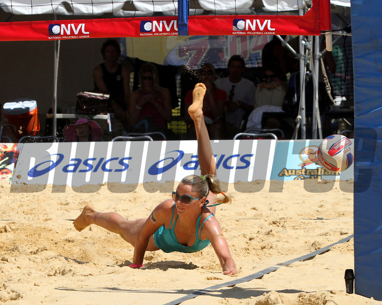 A good attempt during the Beach Volleyball game in the infield at Pimlico Racecourse on May 19, 2012.
