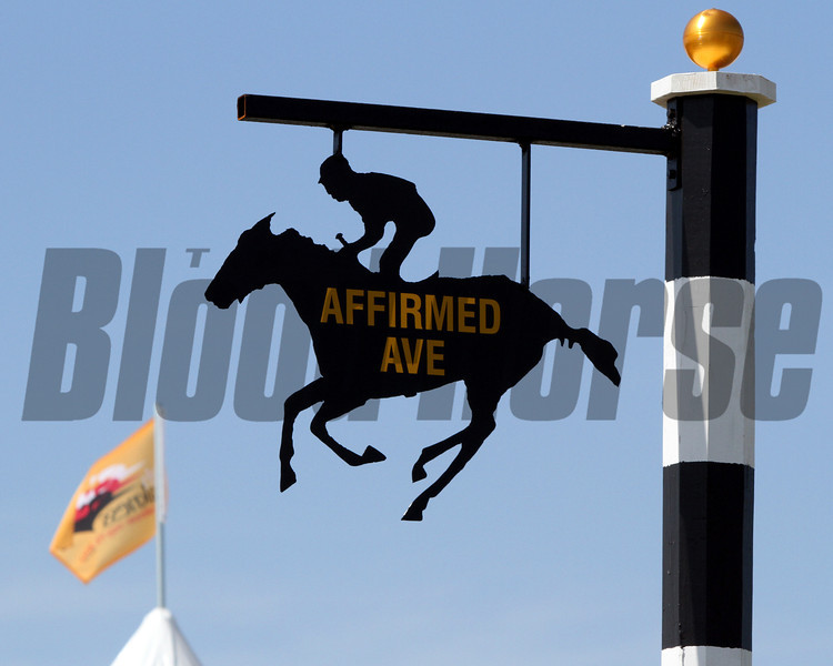 Affirmed sign & Preakness Flag flying in the background at Pimlico Racecourse on May 19, 2012.