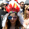 A headress and peace sunglasses in the infield at Pimlico Racecourse on May 19, 2012.