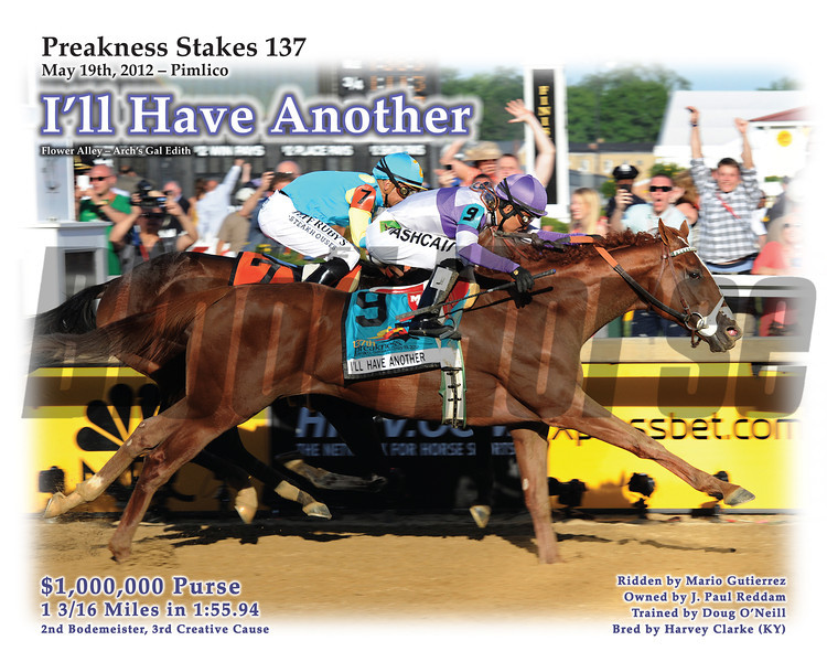 Special Print - I'll Have Another wins the 2012 Preakness Stakes. © 2012 The Blood-Horse