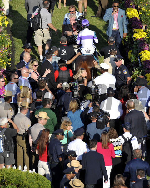 I'll Have Another leads the way into the winner's circle after winning the 137th Running of the Preakness at Pimlico Racecourse on May 19, 2012.<br /> Photo by Chad Harmon.