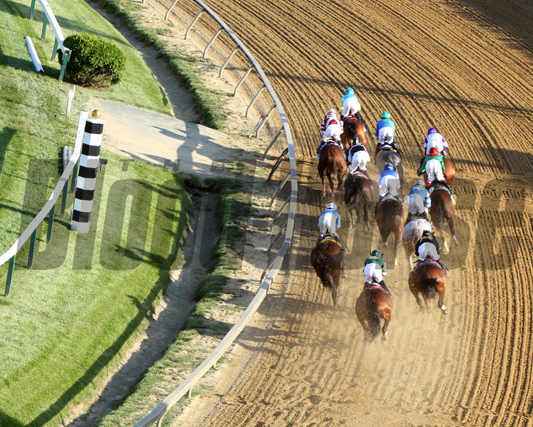 The field for the 137th Running of the Preakness head around the 1st Turn at Pimlico Racecourse on May 19, 2012.<br /> Photo by Chad Harmon.