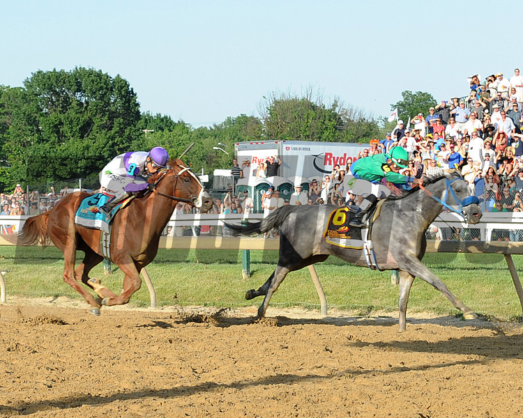 """I'll Have Another, Mario Gutierrez up, wins the Preakness Stakes ,  Pimlico Race Track, Baltimore, MD 5/19/12, Photo by Mathea Kelley , with Larry """"thumper"""" Jones"""