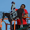 An artitst paints the colors or I'll Have Another on the weather vane on top of the winner's circle cupola after the 137th running of The Preakness Stakes at Pimlico in Baltimore, MD. May 19, 2012.    Skip Dickstein Photo
