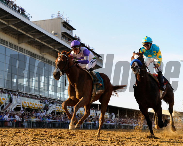 I'll Have Another, left ridden by Mario Gutierrez in the irons beats Bodemeister with Mike Smith in the irons to the win the 137th running of The Preakness Stakes at Pimlico in Baltimore, MD. May 19, 2012.     <br /> Skip Dickstein Photo