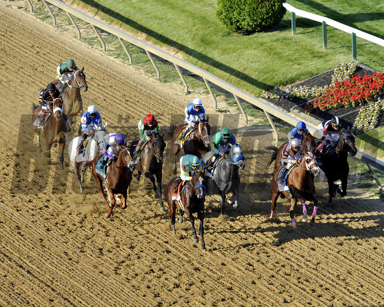 The field for the 137th Running of the Preakness Stakes comes by the stands for the 1st time at Pimlico Racecourse on May 19, 2012.<br /> Photo by Chad Harmon