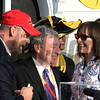 Doug O'Neill, left shares a winning moment with owner J. Paul Reddam, center and Zillah Reddam his trainee I'll Have Another won the 137th running of The Preakness Stakes at Pimlico in Baltimore, MD. May 19, 2012.    Skip Dickstein Photo