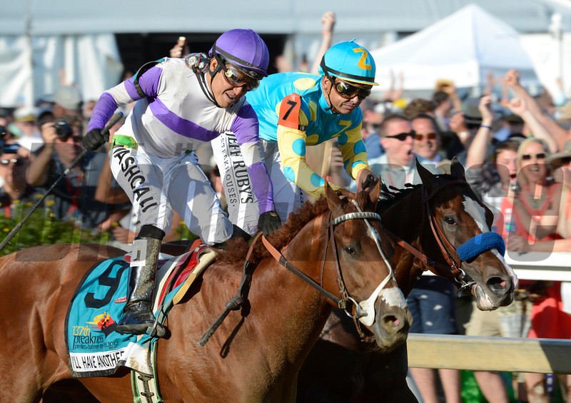 I'll Have Another ridden by Mario Gutierrez celebrates after beating Bodemeister with Mike Smith to the win the 137th running of The Preakness Stakes at Pimlico in Baltimore, MD. May 19, 2012.     <br /> Skip Dickstein Photo