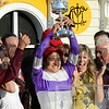Mario Gutierrez celebrates in the winner's circle after beating Bodemeister with Mike Smith to the win the 137th running of The Preakness Stakes at Pimlico in Baltimore, MD. May 19, 2012.   <br /> Skip Dickstein Photo