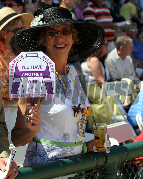 An I'll Have Another fan at Pimlico Racecourse on May 19, 2012.<br /> Photo by Chad Harmon.