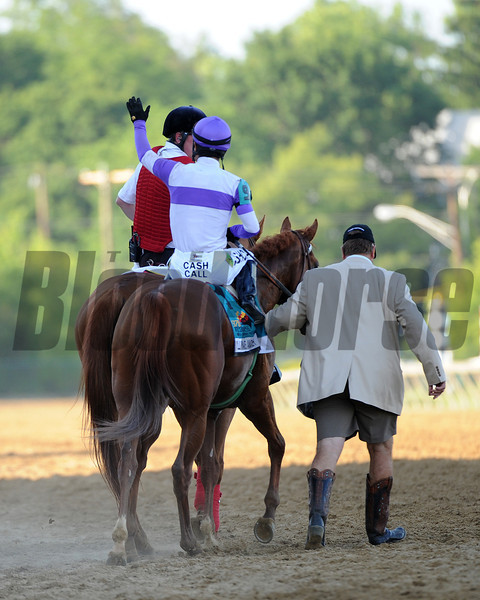 "I'll Have Another, Mario Gutierrez up, wins the Preakness Stakes ,  Pimlico Race Track, Baltimore, MD 5/19/12, Photo by Mathea Kelley , with Larry ""thumper"" Jones"