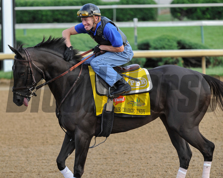 Calvin Borel and Take Charge Indy make faces and entertain the crowd during morning gallops at Churchill Downs May 3rd.<br /> Photo by Mallory Haigh.