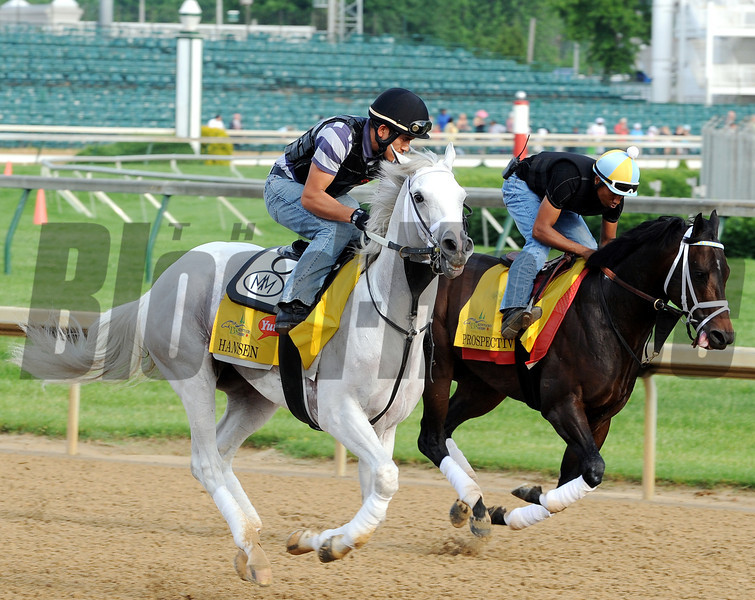 Hansen and Prospective - Churchill Downs, May 3, 2012.<br /> Photo by Dave Harmon