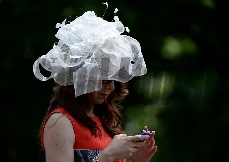A woman works her smartphone near the paddock at the Belmont Race Course in Belmont Stakes Day June 8, 2013.