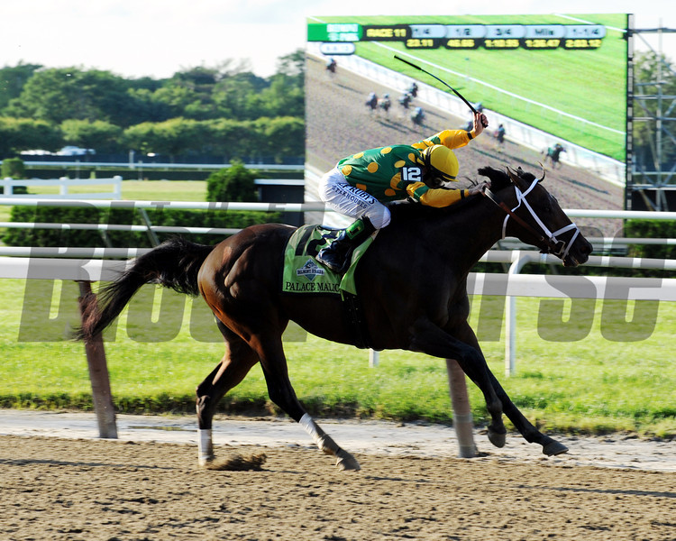 The finish line is in sight for Palace Malice and jockey Mike Smith.<br /> Dave Harmon Photo