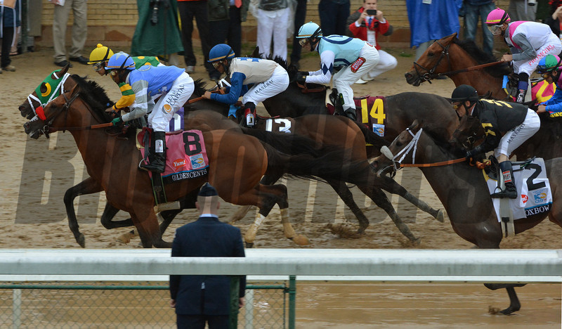 The field of 19 races down the strech the first time by in the Kentucky Derby.