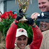 Jockey Joel Rosario holds the winner's trophy after Orb won the 139th running of the Kentucky Derby May 4, 2013 at Churchill Downs in Louisville, Kentucky.<br /> Skip Dickstein Photo