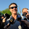Caption:  NCAA champion coach RIck Pitino talks with media outside Goldencents' Barn.<br /> works and scenes at Churchill Downs near Louisville, Ky. on May 1, 2013, during Kentucky Derby and Kentucky Oaks week.<br /> 2Works5_1_13 image738<br /> Photo by Anne M. Eberhardt