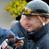 Caption: jockey Calvin Borel talks with reporters<br /> works and scenes at Churchill Downs near Louisville, Ky. on April 27, 2013, during Kentucky Derby and Kentucky Oaks week.<br /> 1Works4_27_13 image295<br /> Photo by Anne M. Eberhardt
