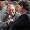 Owner Ken Ramsey pumps fists with son Jeff  duringthe post position draw at Churchill Downs in Louisville, KY May 1, 2013 (Photo by Skip Dickstein)