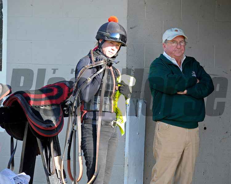 Caption: Shug McGaughey with exercise rider Jennifer Patterson<br /> works and scenes at Churchill Downs near Louisville, Ky. on April 26, 2013, during Kentucky Derby and Kentucky Oaks week.<br /> 1Works4_26_13 image969<br /> Photo by Anne M. Eberhardt