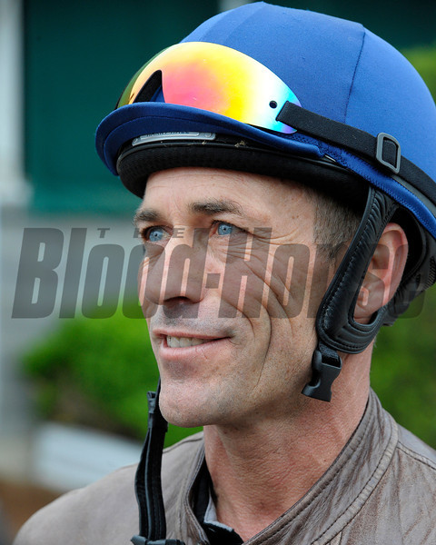 Caption:  Gary Stevens<br /> works and scenes at Churchill Downs near Louisville, Ky. on April 29, 2013, during Kentucky Derby and Kentucky Oaks week.<br /> 1Works4_29_13 image976<br /> Photo by Anne M. Eberhardt