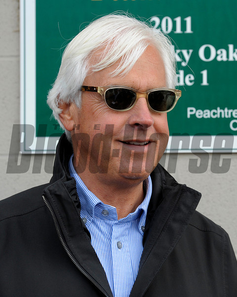 Caption:  trainer Bob Baffert<br /> works and scenes at Churchill Downs near Louisville, Ky. on April 28, 2013, during Kentucky Derby and Kentucky Oaks week.<br /> 3Works4_28_13 image694<br /> Photo by Anne M. Eberhardt