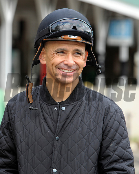 Caption:  jockey Mike Smith<br /> works and scenes at Churchill Downs near Louisville, Ky. on April 28, 2013, during Kentucky Derby and Kentucky Oaks week.<br /> 3Works4_28_13 image706<br /> Photo by Anne M. Eberhardt