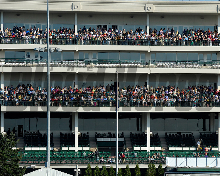 Caption:  Dawn at the Downs crowd<br /> works and scenes at Churchill Downs near Louisville, Ky. on May 1, 2013, during Kentucky Derby and Kentucky Oaks week.<br /> 1Works5_1_13 image543<br /> Photo by Anne M. Eberhardt