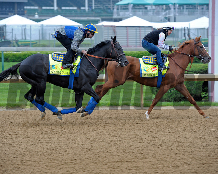 Caption:  Govenor Charlie and Power Broker on the track.<br /> works and scenes at Churchill Downs near Louisville, Ky. on April 29, 2013, during Kentucky Derby and Kentucky Oaks week.<br /> 1Works4_29_13 image845<br /> Photo by Anne M. Eberhardt