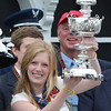 Erin Kelly holds the winner's trophy after Oxbow with Gary Stevens aboard won the 138th running of the Preakness Stakes at Pimlico in Baltimore, Maryland May 18, 2013.  Photo by Skip Dickstein