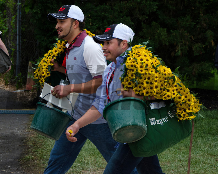 members of Team Lukas carry the black eyed susan blanket back to the barn.<br /> Courtney Heeney photo