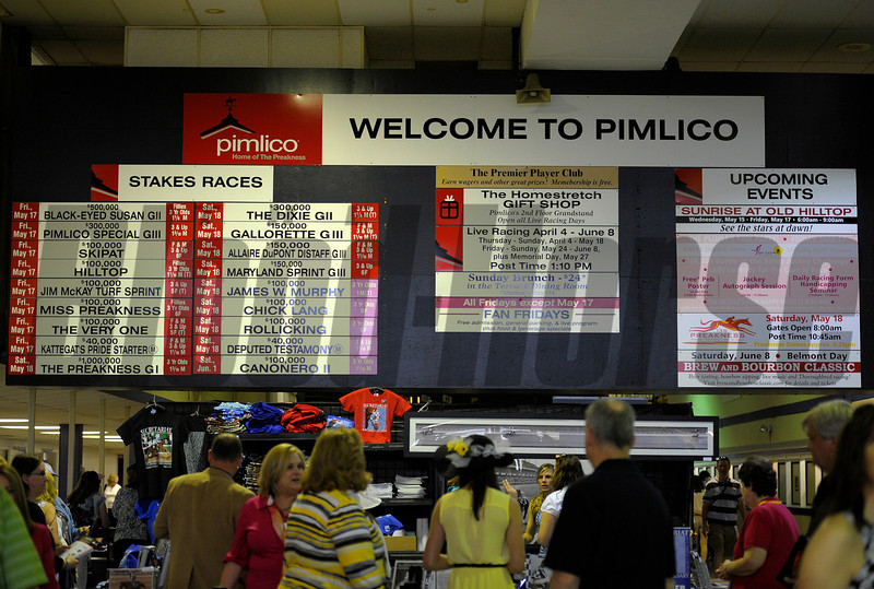 Caption: Pimlico signage<br /> Preakness week 2013 with Preakness horses and other going to the track at Pimlico on May 17, 2013, in Baltimore, Md.<br /> PREAKNESS Scenes2  image980<br /> Photo by Anne M. Eberhardt